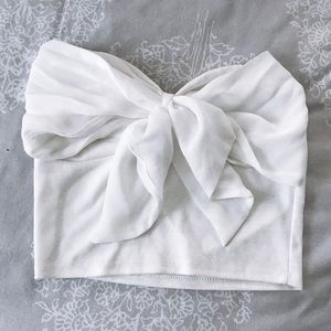 White bow crop top